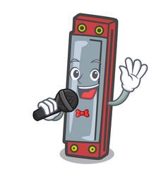 Singing harmonica mascot cartoon style vector