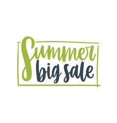 Summer big sale framed lettering composition vector