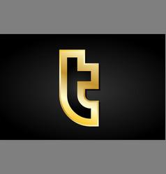 T gold golden letter logo icon design vector