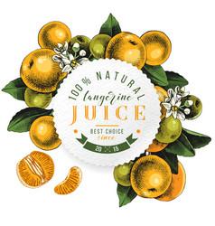 tangerine juice round emblem vector image