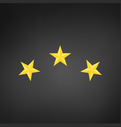 three golden achivement stars isolated on black vector image