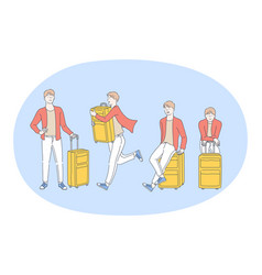 travelling with luggage journey and vacations vector image