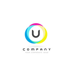u letter logo design with rainbow rounded colors vector image