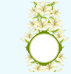 vintage decorative frame with beautiful lilies vector image