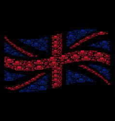 Waving british flag mosaic of military tank items vector
