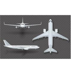 White airplane with shadow icon set on transparent vector