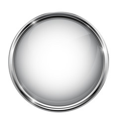 White glass button round 3d shiny icon with metal vector