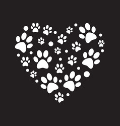 white paw prints in heart shape minimal vector image