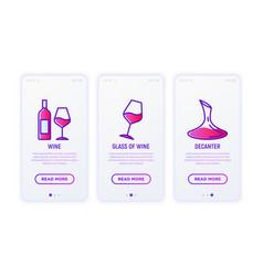 wine thin line icons set vector image