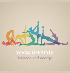 Women silhouettes yoga poses vector