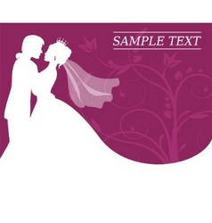 bride and groom on a burgundy background with swir vector image vector image