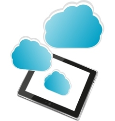 Tablet PC with cloud of application icons isolated vector image