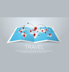 World map earth with pins travel concept vector