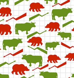 Bulls and bears seamless pattern Exchange traders vector image vector image