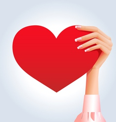 Female hand holding deep red heart vector image vector image
