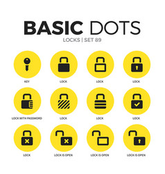 locks flat icons set vector image vector image