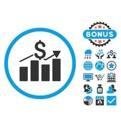 Sales Chart Flat Icon with Bonus vector image vector image