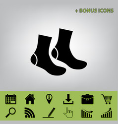 socks sign black icon at gray background vector image