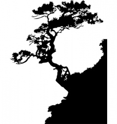 tree on a rock vector image vector image