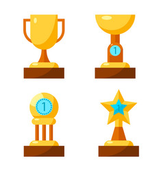 Trophy golden awards collection of four cups on vector
