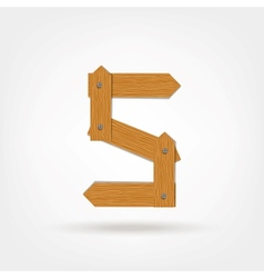 Wooden Boards Number Five vector image vector image