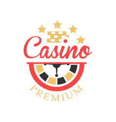casino logo colorful vintage gambling badge or vector image vector image