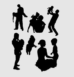 Family playing happiness silhouette vector