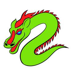 green chinese dragon icon cartoon vector image