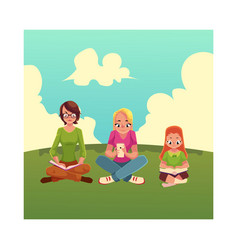 Set of girls reading books and using mobile phone vector