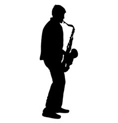 Silhouette musician saxophonist player on white vector