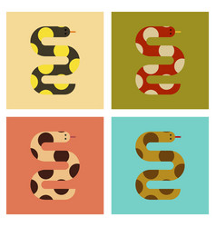 Assembly flat icons nature wildlife snake vector