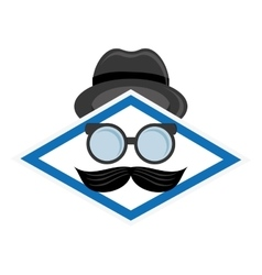 hat glasses and mustache icon vector image