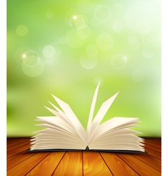 Open book on a wooden floor in front of a green vector image vector image