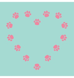 Paw print heart frame Empty template vector image