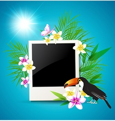Photo tropical flowers and toucan vector image vector image