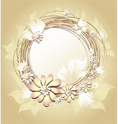 Scrapbooking floral frame in Gold colors vector image