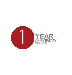 1 year anniversary logotype design with big red vector