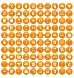 100 credit icons set orange vector