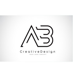Ab letter logo design in black colors vector