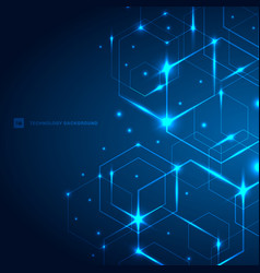 Abstract hexagons with laser light on dark blue vector