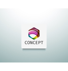 Abstract logo design wave shape hexagon vector