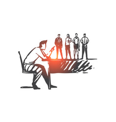 abusive leadership power overuse concept sketch vector image