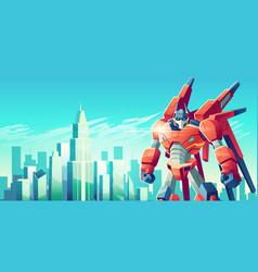 alien robot warrior in metropolis cartoon vector image