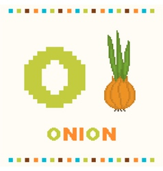 alphabet for children letter o and an onion vector image
