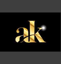 Alphabet letter ak a k gold golden metal metallic vector