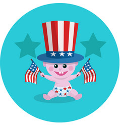 Bawith american flag and hat vector