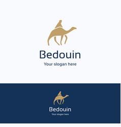 bedouin on camel logo vector image