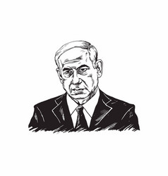 Benjamin netanyahu black and white vector