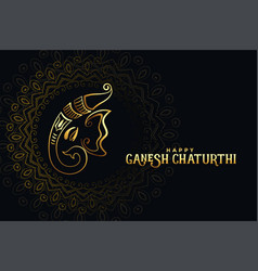 Black and golden happy ganesh chaturthi festival vector