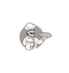 Black chef holding pizza in circle logo vector